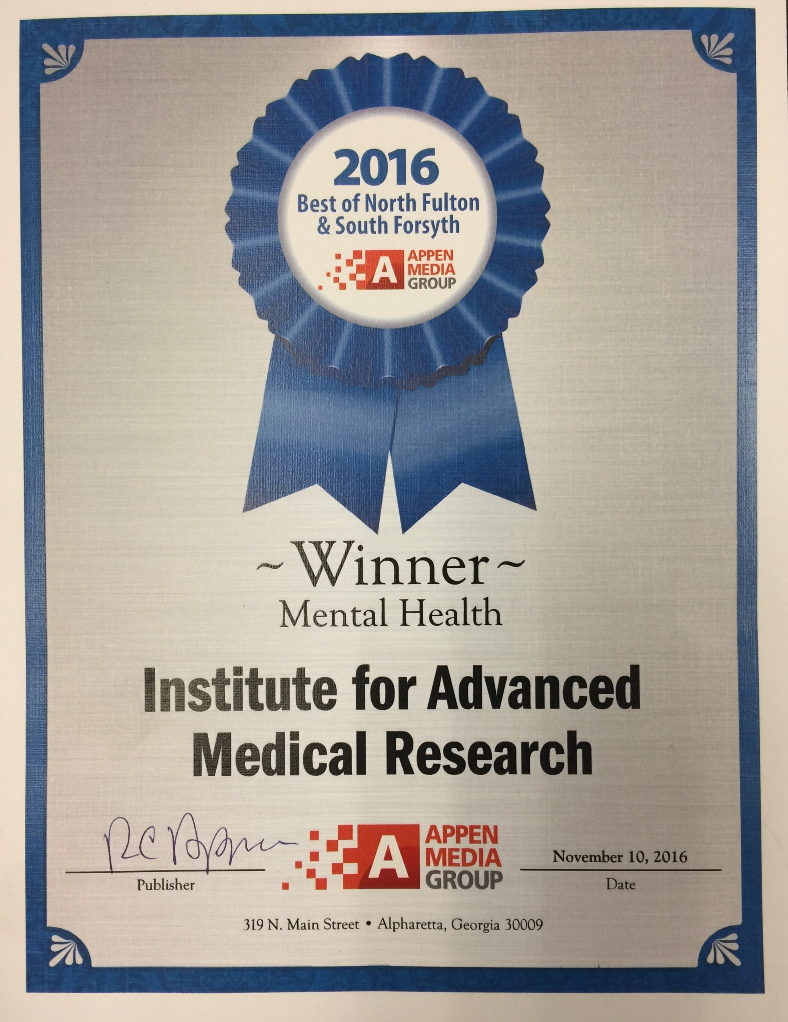 Appen Award Nov 2016